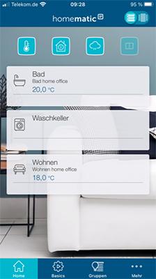 Startbildschirm der App von Homematic IP