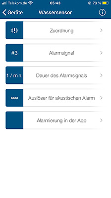 Wassersensor in Homematic app